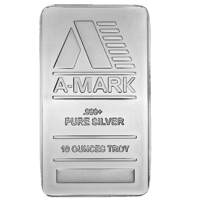 10 oz A-MARK Silver Minted Bar (front)