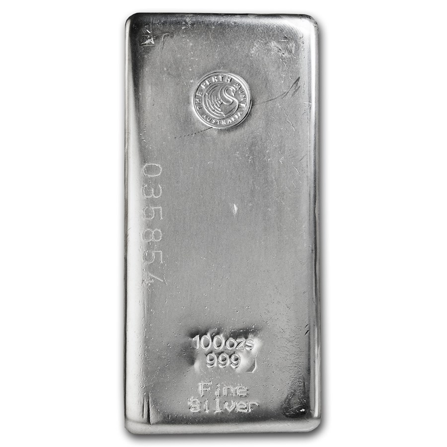 100oz Perth Mint Silver Bast Bar Top