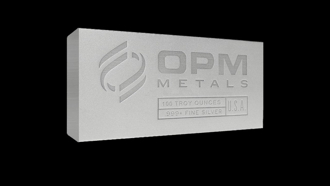 100 oz OPM silver bullion bar