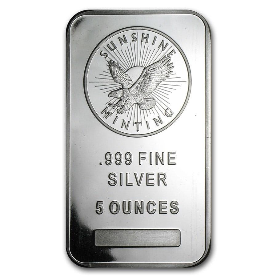 5oz Sunshine Mint Silver Minted Bar Front