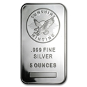 5oz Sunshine Mint Silver Minted Bar Front