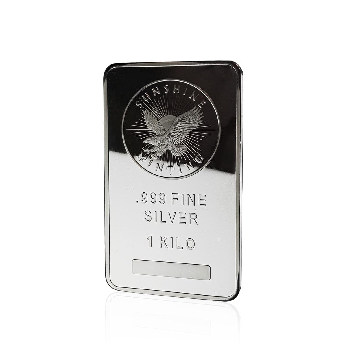 1kg Sunshine Mint Silver Bar front