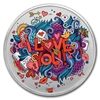 1oz APMEX - Crazy Love - Silver Colorized Round - Coin Front